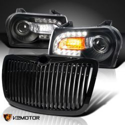 BLACK LED SIGNAL PROJECTOR HEADLIGHTS+VERTICAL GRILLE CHRYSLER 300C 05-10