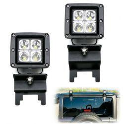 REAR WINDOW ROOF MOUNT 20W LED POD LIGHTS JEEP WRANGLER JK JL 07-17