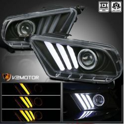 BLACK PROJECTOR HEADLIGHTS SEQUENTIAL LED SIGNAL DRL FORD MUSTANG 10-14
